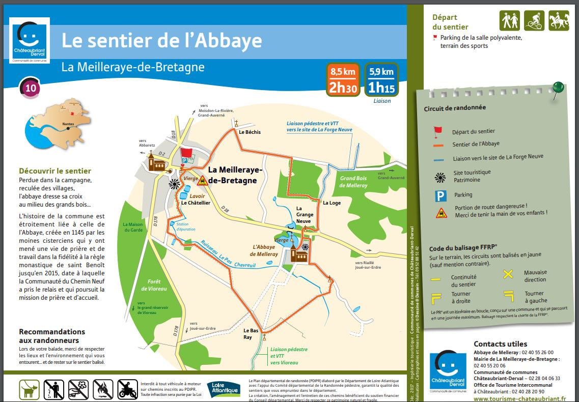 Carte du sentier de l abbaye de la meilleraye de bretagne