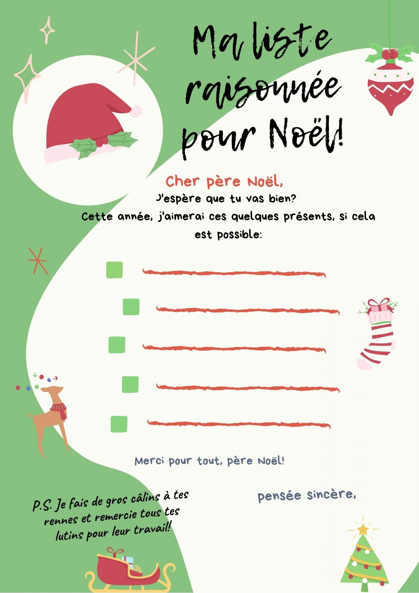 Blue wish list festive flat illustration interactive letter to santa 2