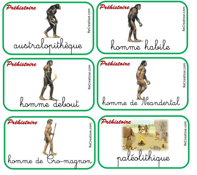 Cartes de mots prehistoire